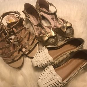3 pair lot of girls sandals